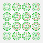 Abstract vector set of timers - green timer icons — Stock Vector