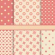 Vector set of seamless romantic vector patterns (tiling) - pink — Stock Vector #49728065