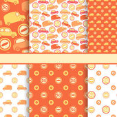 Set of seamless toy cars patterns - orange vector pattern for ba — Stock Vector
