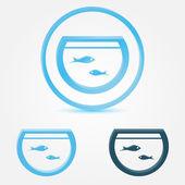 Vector aquarium (fish tank) icon with a fish — Stock Vector