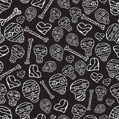 Vector seamless pattern with skulls, bones and hearts on black b — Stock Vector