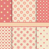 Vector set of seamless romantic vector patterns (tiling) - pink  — Vettoriale Stock