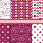 Vector set of seamless romantic vector patterns (tiling) - pink  — Stock Vector