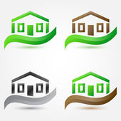 Vector simple house (buildings) icons - abstract real estate sym — Vecteur