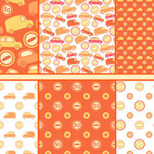 Set of seamless toy cars patterns - orange vector pattern — Stock Vector