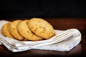 Set of apple chip cookies on white napkin — Stock Photo