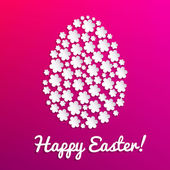 Happy Easter card with paper flowers in an egg shape — Stock Vector