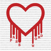 Heartbleed with Binary Code and Password Text — Stock Vector