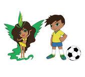 девочка и мальчик из бразилии — Cтоковый вектор