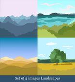 Set of  vector images Landscapes — ストックベクタ