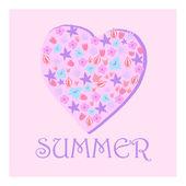 Summer heart of flowers — Stock Vector