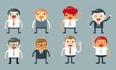 Set of businessman characters poses — Stockvektor