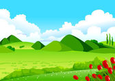 Blue Sky, Green Fields and Distant Hills — Stock Vector