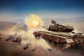 Heavy armor in the field of battle — Stock Photo