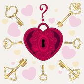 замок в форме сердца и ключей — Cтоковый вектор