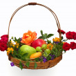 Basket of Fruit and Flowers — Stock Photo
