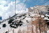 Unique ski lift in the Italian dolomites — Foto Stock