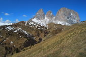 Triple shear mountain peak at Passo di Sella, The Italian Dolomi — Stock Photo