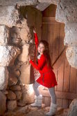 Teenage girl in an abandoned Arab building in Israel — Foto Stock