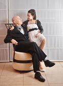 Father and Daughter: a Bat Mitzvah girl with her father — Foto Stock