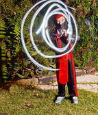 Ninja boy light painting — Stok fotoğraf
