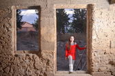 Teenage girl in an abandoned Arab building in Israel — Stock Photo