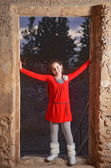 Teenage girl in an abandoned Arab building in Israel — Stock Photo