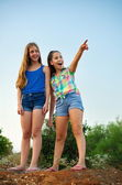 Two best friend on a hill — Stock Photo