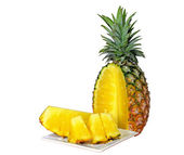 Pineapple sliced on white plate with clipping path — Stock Photo