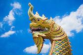 King of Naga statue, Serpent head statue — Stock Photo