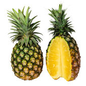 Pineapple with slices isolated  on white background — Stock Photo