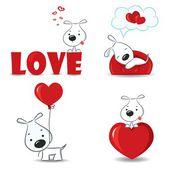 Um conjunto de cães engraçados com corações — Vetor de Stock