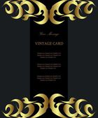 Black gold-framed label — Vector de stock