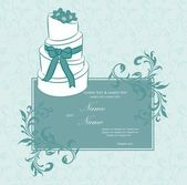 Wedding invitation or announcement with wedding cake. Vector illustration. — Stock Vector