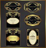 Gold-framed labels vector set — Stock Vector