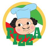 Pizza label design with a cartoon chef. — Stock Vector