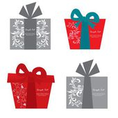 Vector set of gift box cards — Stock Vector