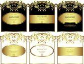 Çiçek altın çerçeveli etiketleri kümesi vektör — Stok Vektör