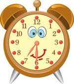 Funny cartoon alarm clock — Vector de stock