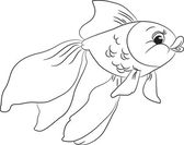 Outlined cute cartoon goldfish — Vector de stock
