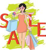 Fashion shopping girl and sale word — Stock Vector