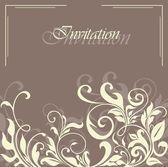 Vintage damask floral invitation card — Stock Vector