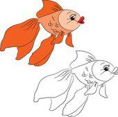 мультипликационная золотая рыбка — Cтоковый вектор
