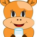 Cartoon baby cow with glass of milk — Stock Vector #44757231