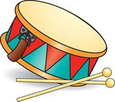Toy drum and drumsticks — Stock Vector