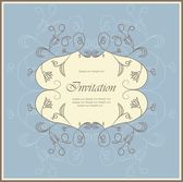Vintage blue floral invitation card — Stock Vector