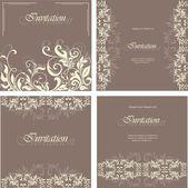 Set of invitation floral cards — Stockvektor