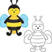 Roztomilý kreslený včela — Stock vektor