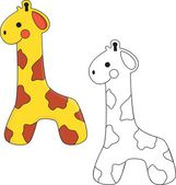 Cute Giraffe Toy. Coloring book — Vector de stock
