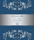 Floral silver vintage card — Stock Vector